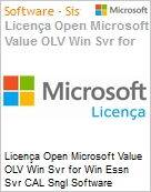 Licença Open Microsoft Value OLV Win Svr for Win Essn Svr CAL SGNL Software Assurance 5 Licenses No Level Additional Product CAL User CAL User 2 Year Acquired ye (Figura somente ilustrativa, não representa o produto real)