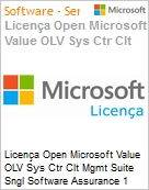 Licença Open Microsoft Value OLV Sys Ctr Clt Mgmt Suite Sngl Software Assurance 1 License No Level Additional Product Per User 1 Year Acquired year 1 (Figura somente ilustrativa, não representa o produto real)