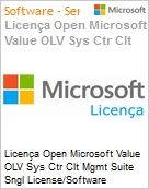 Licença Open Microsoft Value OLV Sys Ctr Clt Mgmt Suite Sngl License/Software Assurance Pack [LicSAPk] 1 License No Level Additional Product Per User 1 Year Acquired year (Figura somente ilustrativa, não representa o produto real)