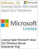 Licença Open Microsoft Value OLV Windows Server Datacenter Sngl License/Software Assurance Pack [LicSAPk] 1 License No Level Additional Product 2 PROC 1 Year Acquired yea (Figura somente ilustrativa, não representa o produto real)
