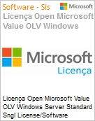 Licença Open Microsoft Value OLV Windows Server Standard Sngl License/Software Assurance Pack [LicSAPk] 1 License No Level Additional Product 2 PROC 3 Year Acquired year (Figura somente ilustrativa, não representa o produto real)