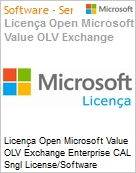 Licença Open Microsoft Value OLV Exchange Enterprise CAL Sngl License/Software Assurance Pack [LicSAPk] 1 License No Level Additional Product User CAL User CAL w/ Services (Figura somente ilustrativa, não representa o produto real)