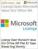 Licença mensal Microsoft Value OLV Office 365 Plan E1 Shared Sngl Monthly Subscriptions-Volume License 1 License No Level Additional Product Enterprise Addon t (Figura somente ilustrativa, não representa o produto real)