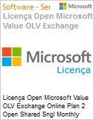 Licença mensal Microsoft Value OLV Exchange Online Plan 2 Open Shared Sngl Monthly Subscriptions-Volume License 1 License No Level Additional Product 1 Month (Figura somente ilustrativa, não representa o produto real)