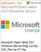 Licen�a Open Microsoft Value OLV Windows Server SNGL [LicSAPk] CAL Device 3Y1Ap  (Figura somente ilustrativa, n�o representa o produto real)