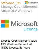 Licença Open Microsoft Value OLV Windows Server CAL SNGL License/Software Assurance Pack [LicSAPk] No Level Additional Product Device CAL 1 Year Acquired year 3 (Figura somente ilustrativa, não representa o produto real)
