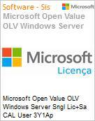 Licen�a Open Microsoft Value OLV Windows Server SNGL [LicSAPk] CAL User 3Y1Ap  (Figura somente ilustrativa, n�o representa o produto real)