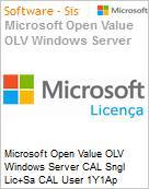 Licen�a Open Microsoft Value OLV Windows Server CAL SNGL [LicSAPk] CAL User 1Y1Ap  (Figura somente ilustrativa, n�o representa o produto real)