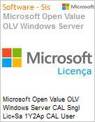 Licen�a Open Microsoft Value OLV Windows Server CAL SNGL [LicSAPk] 1Y2Ap CAL User  (Figura somente ilustrativa, n�o representa o produto real)