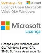 Licen�a Open Microsoft Value OLV Windows Server CAL SNGL Software Assurance No Level Additional Product User CAL 1 Year Acquired year 3  (Figura somente ilustrativa, n�o representa o produto real)