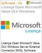 Licença Open Microsoft Value OLV Windows Server External Connector SGNL Software Assurance No Level Additional Product 1 Year Acquired year 2  (Figura somente ilustrativa, não representa o produto real)