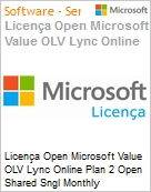 Licença mensal Microsoft Value OLV Lync Online Plan 2 Open Shared Sngl Monthly Subscriptions-Volume License 1 License No Level Additional Product 1 Month (Figura somente ilustrativa, não representa o produto real)