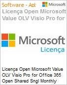 Licença mensal Microsoft Value OLV Visio Pro for Office 365 Shared Sngl Monthly Subscriptions-Volume License 1 License No Level Additional Product 1 Month (Figura somente ilustrativa, não representa o produto real)