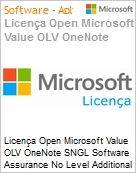 Licença Open Microsoft Value OLV OneNote SNGL Software Assurance No Level Additional Product 1 Year Acquired year 3  (Figura somente ilustrativa, não representa o produto real)