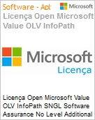 Licença Open Microsoft Value OLV InfoPath SNGL Software Assurance No Level Additional Product 1 Year Acquired year 1  (Figura somente ilustrativa, não representa o produto real)