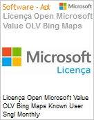 Licença mensal Microsoft Value OLV Bing Maps Known User SGNL Monthly Subscriptions-Volume License 1 License No Level Additional Product Per User 1 Month (Figura somente ilustrativa, não representa o produto real)