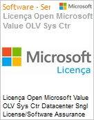 Licença Open Microsoft Value OLV Sys Ctr Datacenter Sngl License/Software Assurance Pack [LicSAPk] 1 License No Level Additional Product 2 PROC 1 Year Acquired year 2 (Figura somente ilustrativa, não representa o produto real)