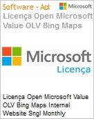 Licença mensal Microsoft Value OLV Bing Maps Internal Website SGNL Monthly Subscriptions-Volume License 1 License No Level Additional Product Usage 250K Transaction (Figura somente ilustrativa, não representa o produto real)