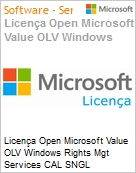 Licença Open Microsoft Value OLV Windows Rights Mgt Services CAL SNGL License/Software Assurance Pack [LicSAPk] No Level Addtl Prod User CAL 3 Year Acq year 1 (Figura somente ilustrativa, não representa o produto real)