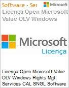 Licença Open Microsoft Value OLV Windows Rights Mgt Services CAL SNGL Software Assurance No Level Additional Product Device CAL 1 Year Acquired year 2 (Figura somente ilustrativa, não representa o produto real)