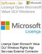 Licença Open Microsoft Value OLV Windows Rights Mgt Services External Connector SNGL License/Software Assurance Pk No Level Addtl Prod 1 Year Acq year 3 (Figura somente ilustrativa, não representa o produto real)