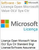 Licença Open Microsoft Value OLV Sys Ctr Standard Sngl License/Software Assurance Pack [LicSAPk] 1 License No Level Additional Product 2 PROC 1 Year Acquired year 1 (Figura somente ilustrativa, não representa o produto real)