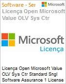 Licença Open Microsoft Value OLV Sys Ctr Standard Sngl Software Assurance 1 License No Level Additional Product 2 PROC 1 Year Acquired year 1  (Figura somente ilustrativa, não representa o produto real)