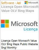 Licença mensal Microsoft Value OLV Bing Maps Public Website SGNL Monthly Subscriptions-Volume License 1 License No Level Additional Product Usage 100K Transactions (Figura somente ilustrativa, não representa o produto real)
