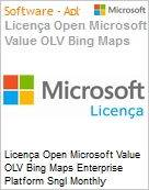 Licença mensal Microsoft Value OLV Bing Maps Enterprise Platform Sngl Monthly Subscriptions-Volume License 1 License No Level Additional Product Services 1 Month (Figura somente ilustrativa, não representa o produto real)