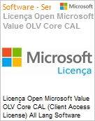 Licença Open Microsoft Value OLV Core CAL (Client Access License) All Lang Software Assurance No Level Enterprise User CAL 1 Year Acquired year 1 (Figura somente ilustrativa, não representa o produto real)