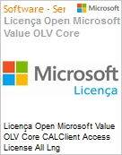 Licen�a Open Microsoft Value OLV Core CALClient Access License All Lng License/Software Assurance Pack [LicSAPk] 1 License No Level Platform Device CAL Device CAL 3 Year A (Figura somente ilustrativa, n�o representa o produto real)
