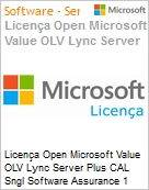 Licen�a Open Microsoft Value OLV Lync Server Plus CAL Sngl Software Assurance 1 License No Level Additional Product User CAL User CAL 1 Year Acquired year 2 (Figura somente ilustrativa, n�o representa o produto real)