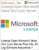 Licença Open Microsoft Value OLV Lync Server Plus CAL All Lng Software Assurance 1 License No Level Enterprise for ECAL User CAL User CAL 1 Year Acquired year 1 (Figura somente ilustrativa, não representa o produto real)