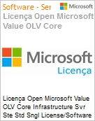 Licença Open Microsoft Value OLV Intel Core infrastructure Svr Ste Std Sngl License/Software Assurance Pack [LicSAPk] 1 License No Level Additional Product 2 PROC 1 Year Acquire (Figura somente ilustrativa, não representa o produto real)