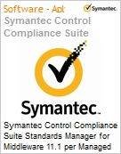 Symantec Control Compliance Suite Standards Manager for Middleware 11.1 per Managed Server Bndl Standard License Express Band S [001+] Essential 12 Meses (Figura somente ilustrativa, não representa o produto real)