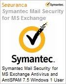 Symantec Mail Security for MS Exchange Antivirus and AntiSPAM 7.5 Windows 1 User Bndl Standard License Express Band E [250-499] Essential 12 Meses (Figura somente ilustrativa, não representa o produto real)