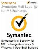 Symantec Mail Security for MS Exchange Antivirus 7.5 Windows 1 User Bndl Standard License Express Band D [100-249] Essential 12 Meses  (Figura somente ilustrativa, não representa o produto real)