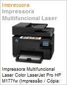 Impressora Multifuncional Laser Color LaserJet Pro HP M177fw (Impress�o / C�pia: 16/4ppm; Scanner; Fax) 600x600dpi 128MB Rede Wi-Fi N ePrint AirPrint 20.000 p�g/m�s (Figura somente ilustrativa, n�o representa o produto real)