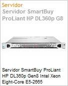 Servidor SmartBuy ProLiant HP DL360p Gen8 Intel Xeon Eight-Core E5-2665 (2.40GHz/1600MHz/20MB L3) 8GB 300GB 6G SAS 10.000 rpm RAID P420i Quad-Port (Figura somente ilustrativa, n�o representa o produto real)