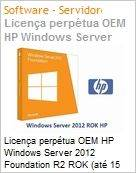 Licen�a perp�tua OEM HP Windows Server 2012 Foundation R2 ROK (at� 15 usuarios)  (Figura somente ilustrativa, n�o representa o produto real)