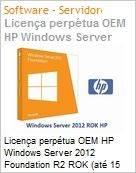 Licença perpétua OEM HP Windows Server 2012 Foundation R2 ROK (até 15 usuarios)  (Figura somente ilustrativa, não representa o produto real)