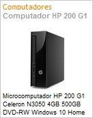Microcomputador HP 200 G1 Celeron N3050 4GB 500GB DVD-RW Windows 10 Home 64 On-Site Torre Slim  (Figura somente ilustrativa, n�o representa o produto real)