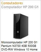 Microcomputador HP 200 G1 Pentium N3700 4GB 500GB DVD-RW Windows 10 Home 64 On-Site Torre Slim  (Figura somente ilustrativa, n�o representa o produto real)