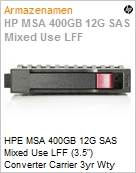 HPE MSA 400GB 12G SAS Mixed Use LFF (3.5) Converter Carrier 3yr Wty Solid State Drive  (Figura somente ilustrativa, não representa o produto real)