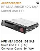 HPE MSA 800GB 12G SAS Mixed Use LFF (3.5) Converter Carrier 3yr Wty Solid State Drive  (Figura somente ilustrativa, não representa o produto real)