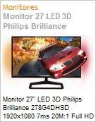 Monitor 27 LED 3D Philips Brilliance 278G4DHSD 1920x1080 7ms 20M:1 Full HD HDMI [x3] IPS USB 3.0 [x4] Ambiglow Gioco  (Figura somente ilustrativa, n�o representa o produto real)